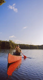 Canoeing on Little Greenough Pond, Errol, NH